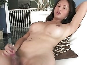 Hot Asian TS in leopard dress masturbate