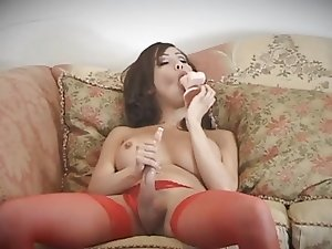 Shemale Celeste Sucks Dildo & Jerks Herself